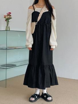 Ruffle bustier long dress ワンピース