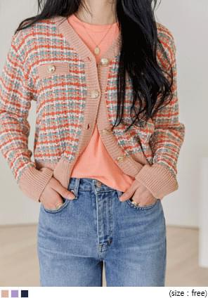 CROM TWEED KNIT CARDIGAN