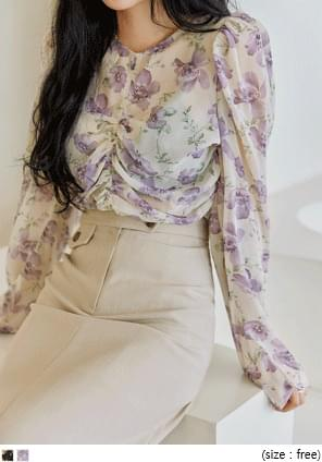 POOL FLOWER SHIRRING BLOUSE ブラウス