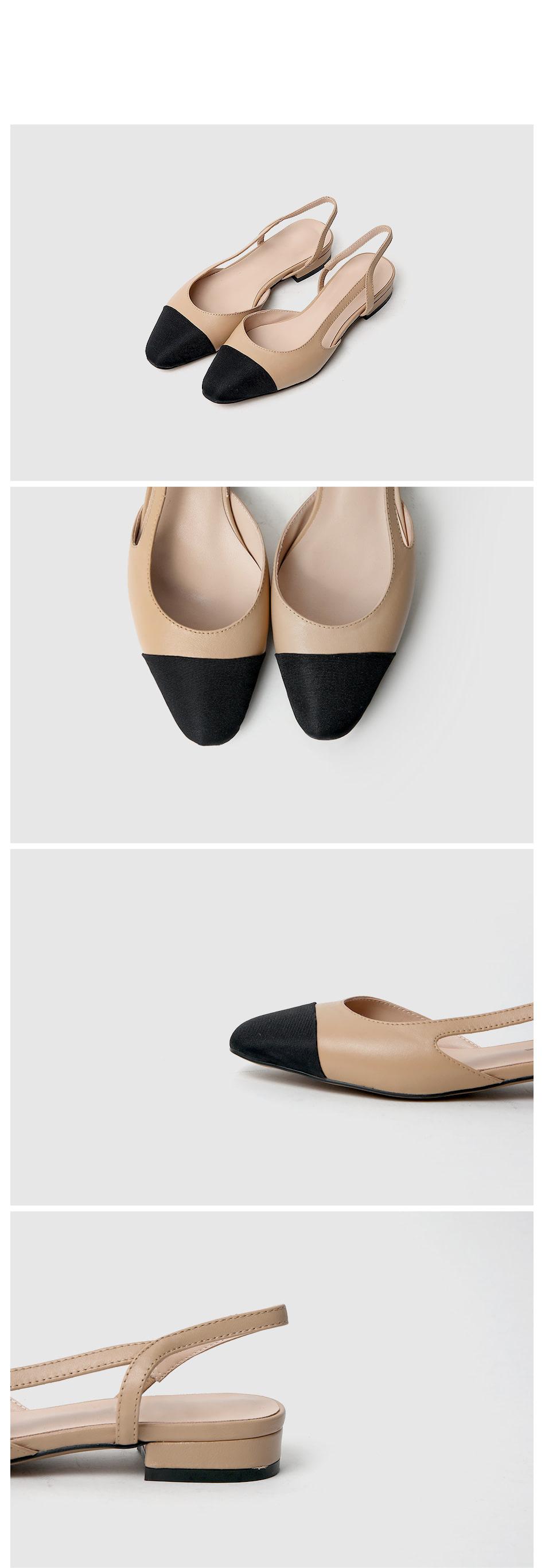 Nienta Leather Slingback Flat Shoes 2cm