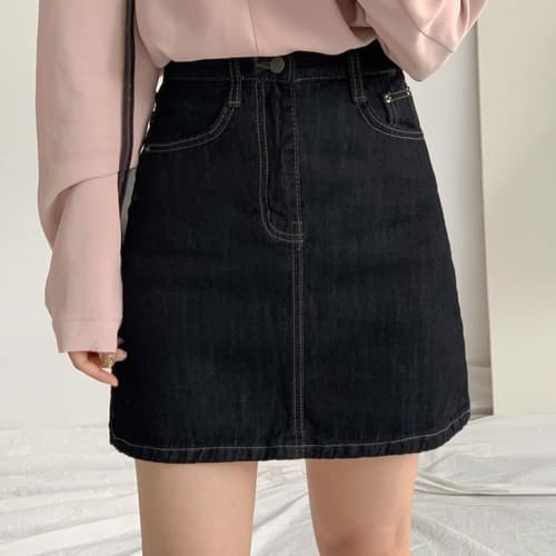 高腰A字襬原色牛仔短裙