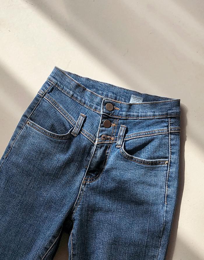 高腰排扣牛仔紧身裤