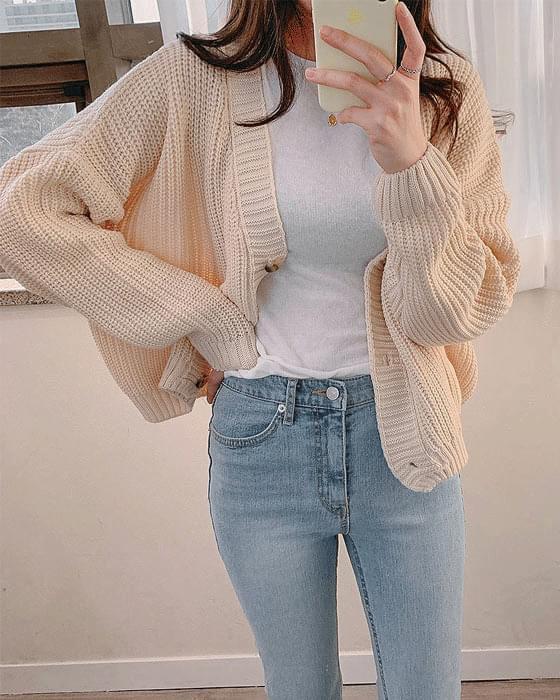 골지 와플 knit cardigan - 4color