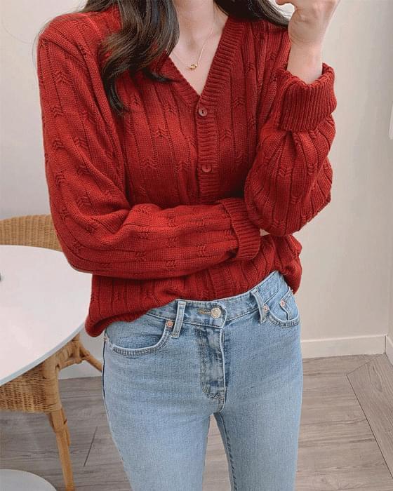 잔꽃 펀칭 골지 knit cardigan - 6color