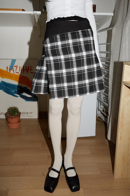 strap glen check skirt