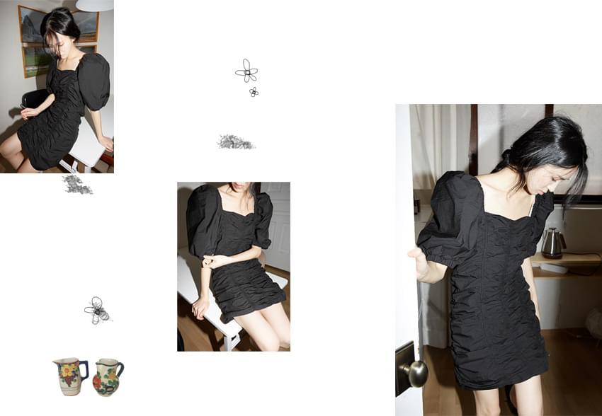shirring crease puff dress