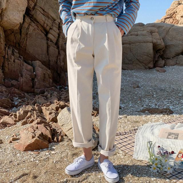 Straight Double Pin Tuck Cotton Pants