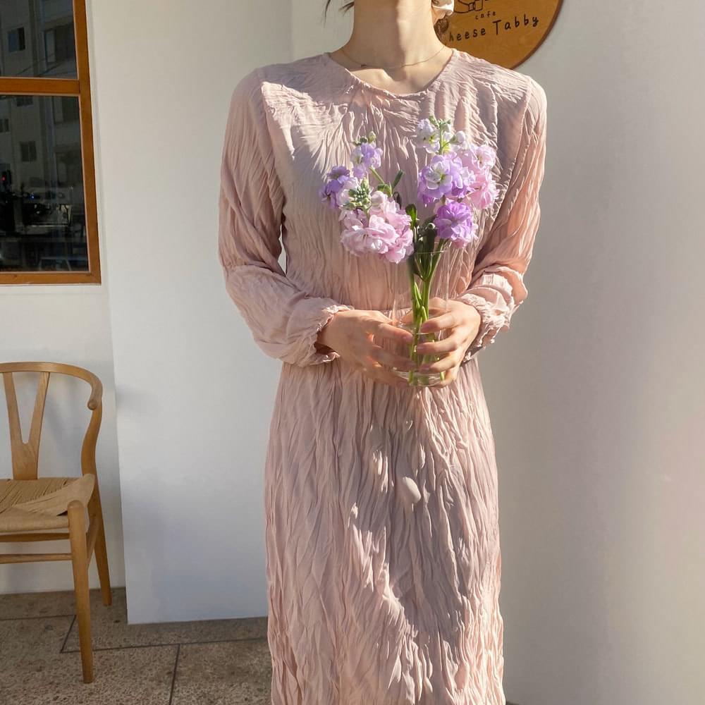 Wrinkle wrinkle long dress