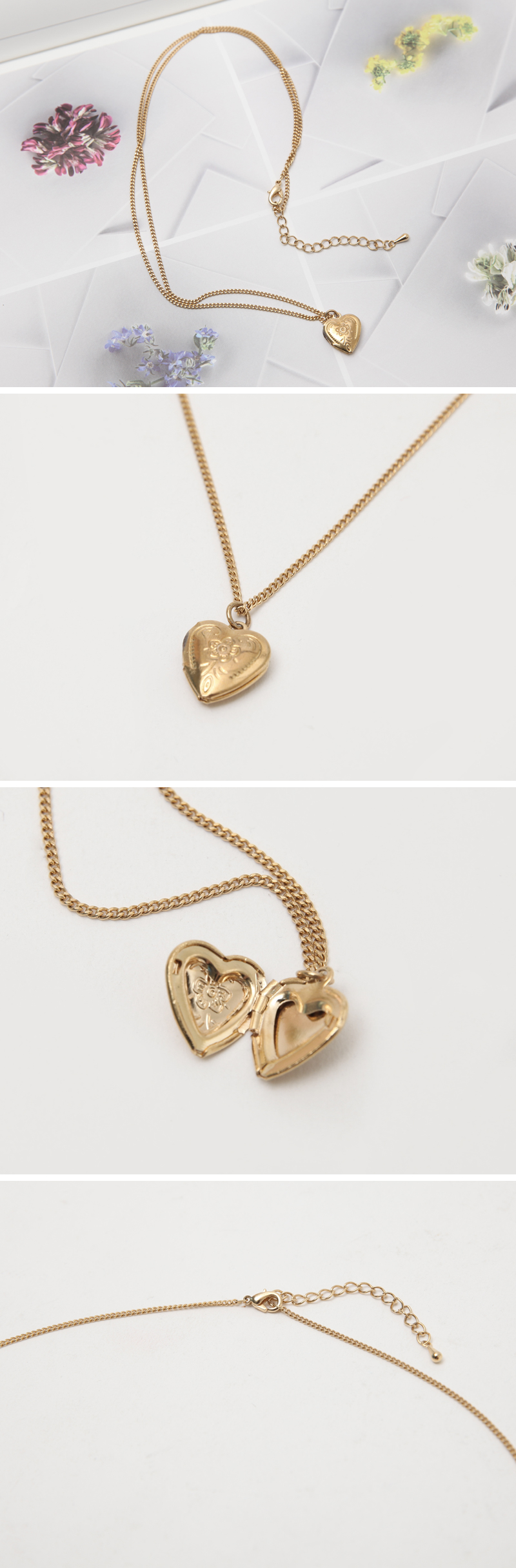 mini point love necklace_C (size : one)
