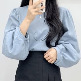 소매 벌룬 셔링 맨투맨