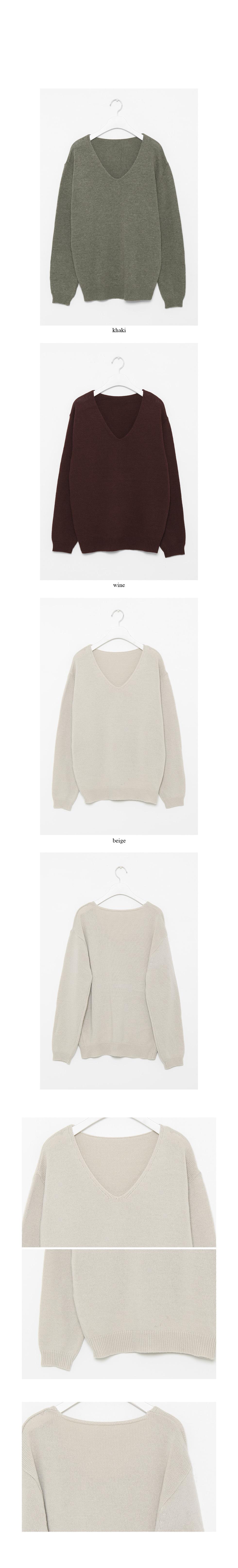 simple v neck knit