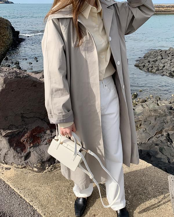 cham hidden button trench coat