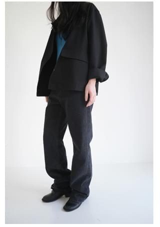 solid maxi denim pants (2colors)