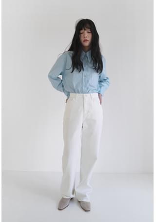 clean stitch straight cotton pants