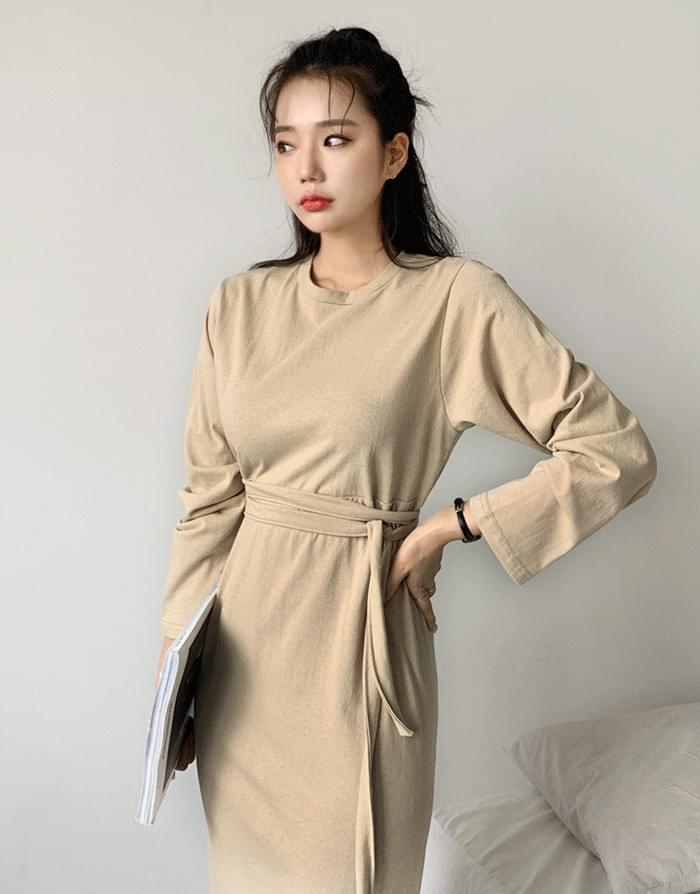 Plain long-sleeved dress dresses