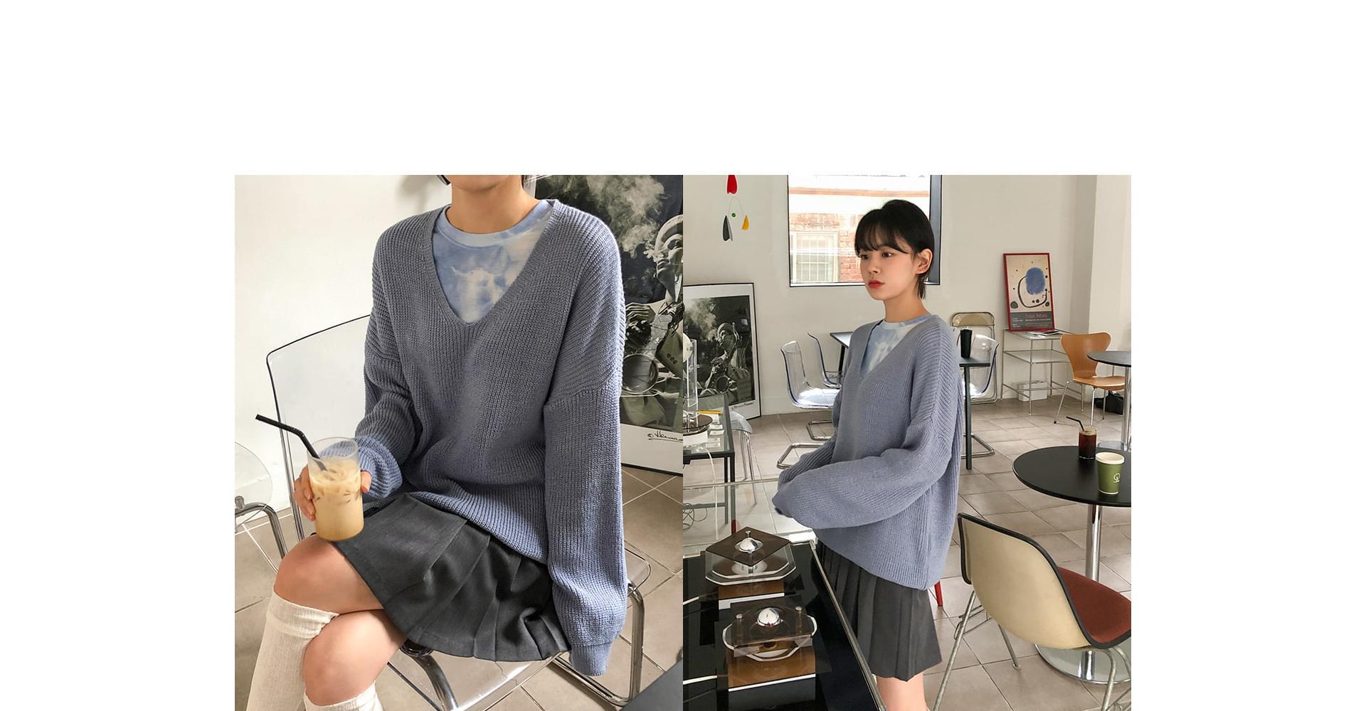 V-neck overfit hatch knit 針織衫
