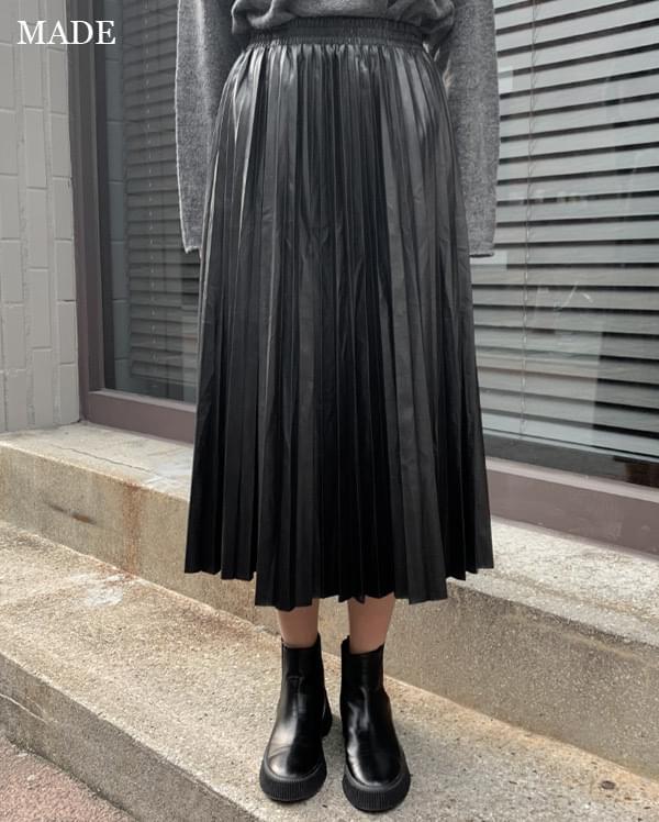 Leather pleated banding midi skirt