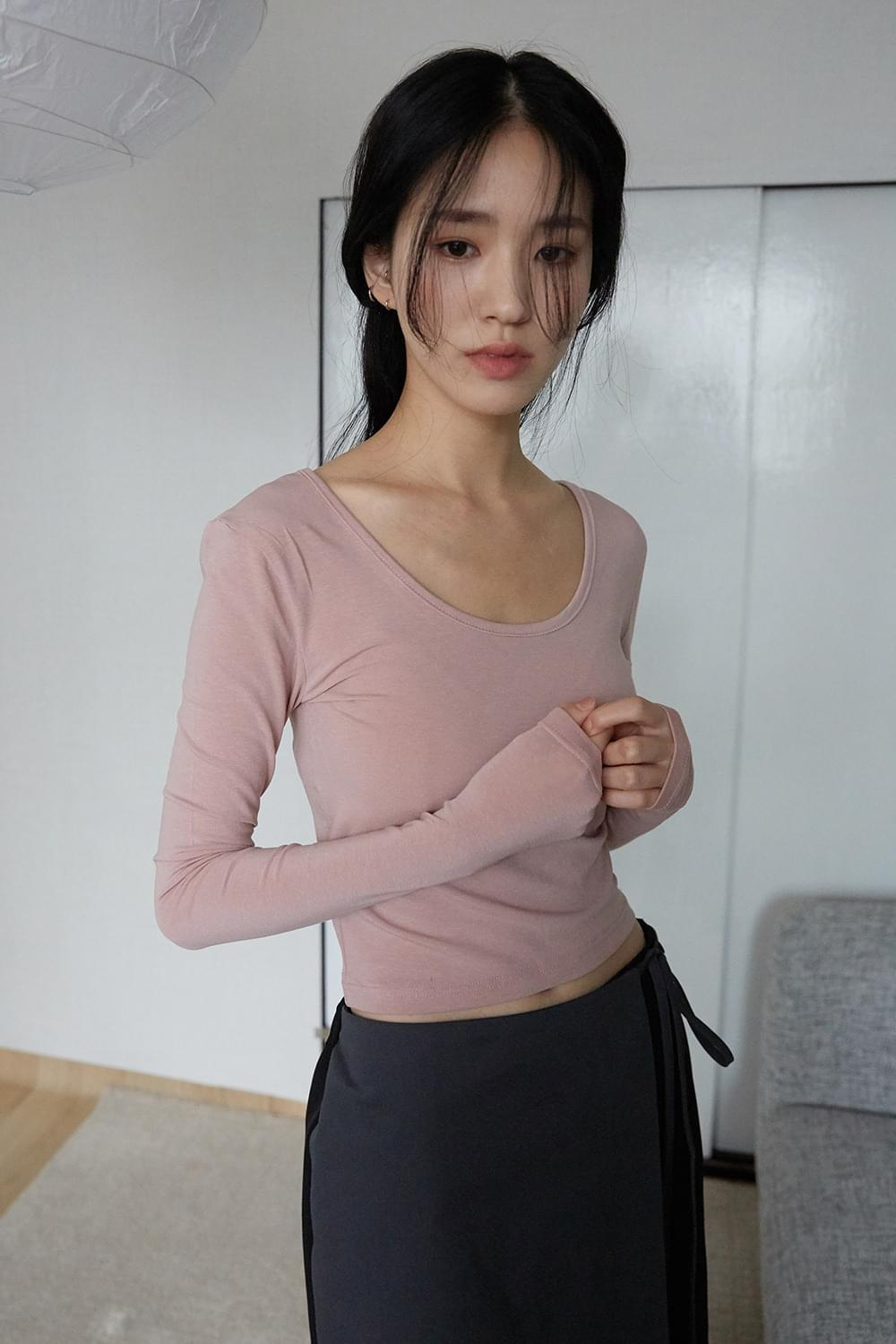 cropped tension top Long Sleeve