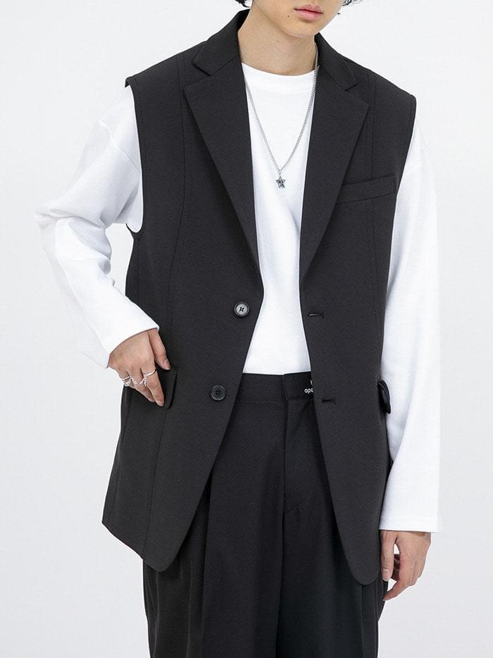 layered jacket vest - men 開襟衫 & 背心