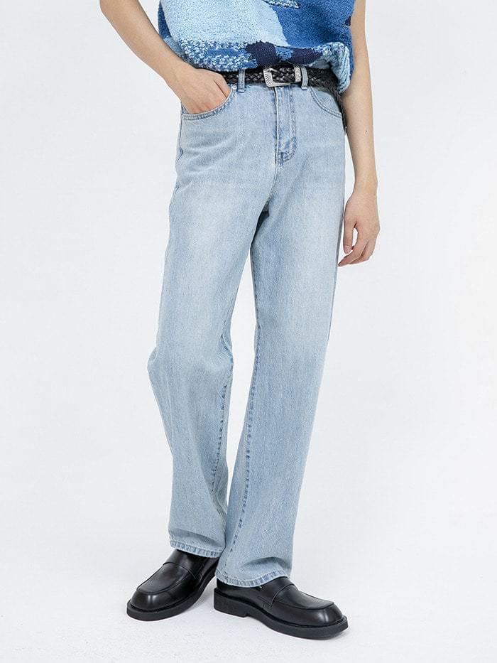 washed light blue jeans - men 牛仔褲