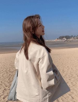 Casual color collar neck cotton jacket ジャケット