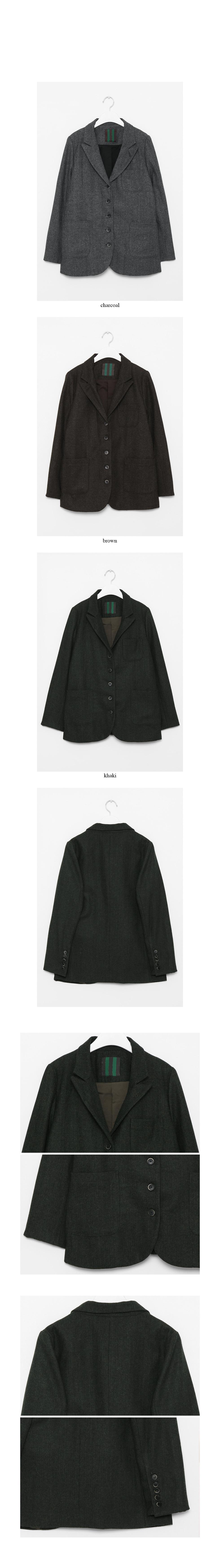tweed wool simple jacket (3colors)