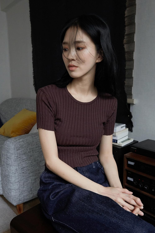 flex slim half top Short Sleeve