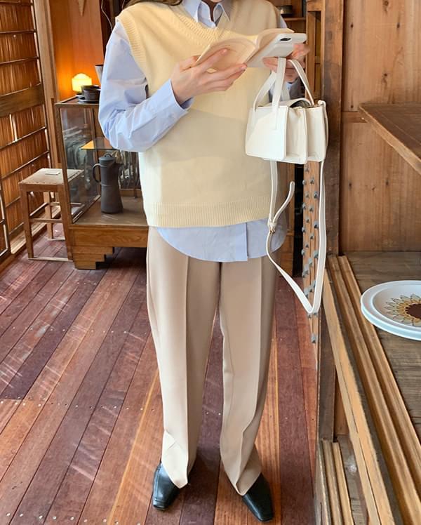 vinus layered wool knit vest
