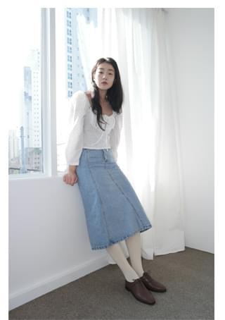 unbalance denim midi skirt (2colors)