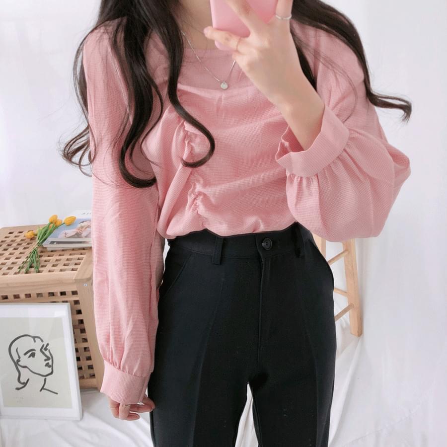 Caramel grid check blouse blouses