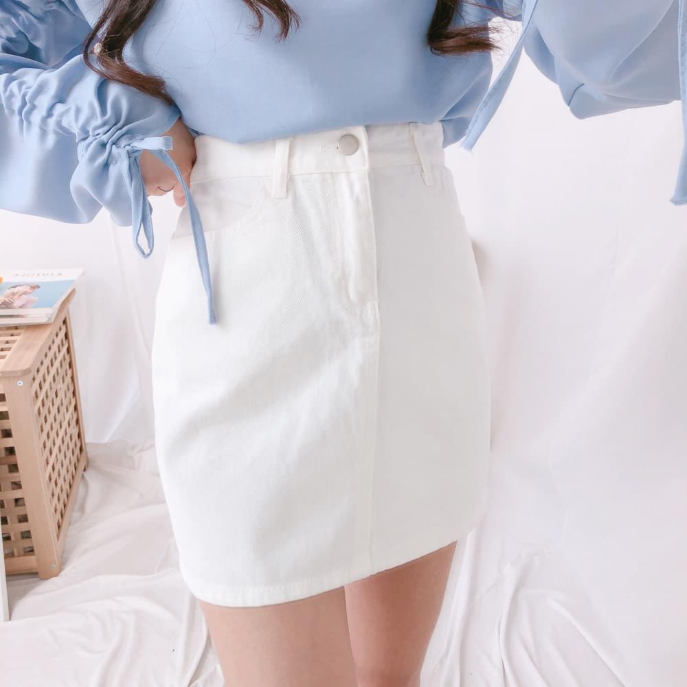 J518 H-line cotton mini skirt skirt