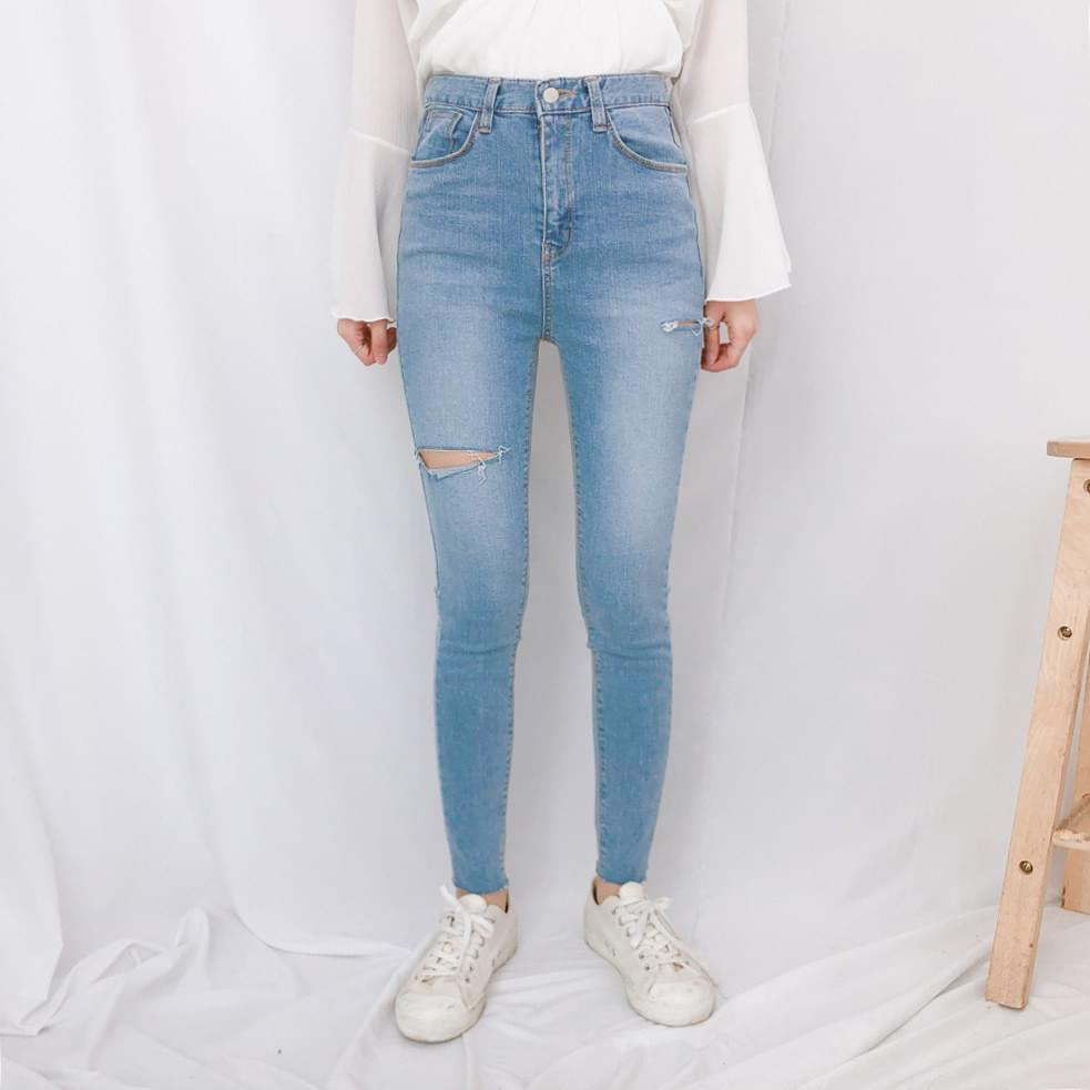 J531 point cut skinny jeans jeans