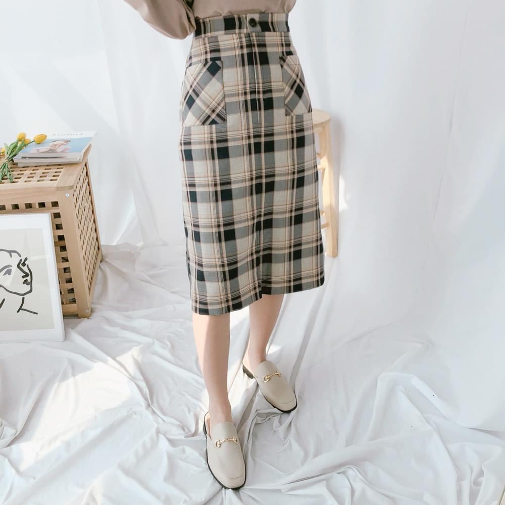 Polling check long skirt skirt