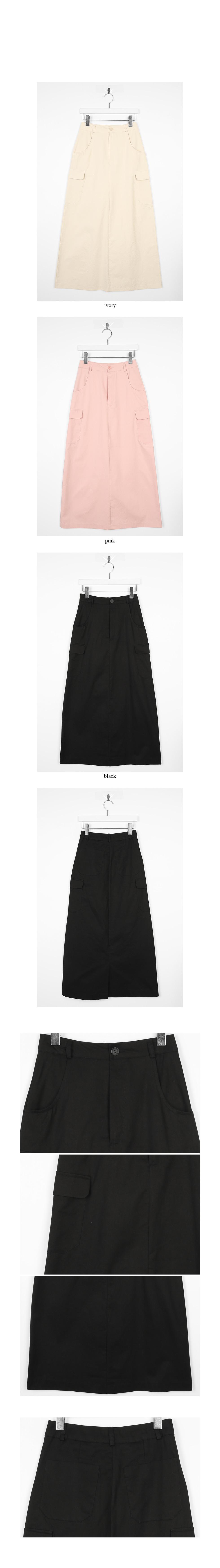 crispy texture cargo maxi skirts