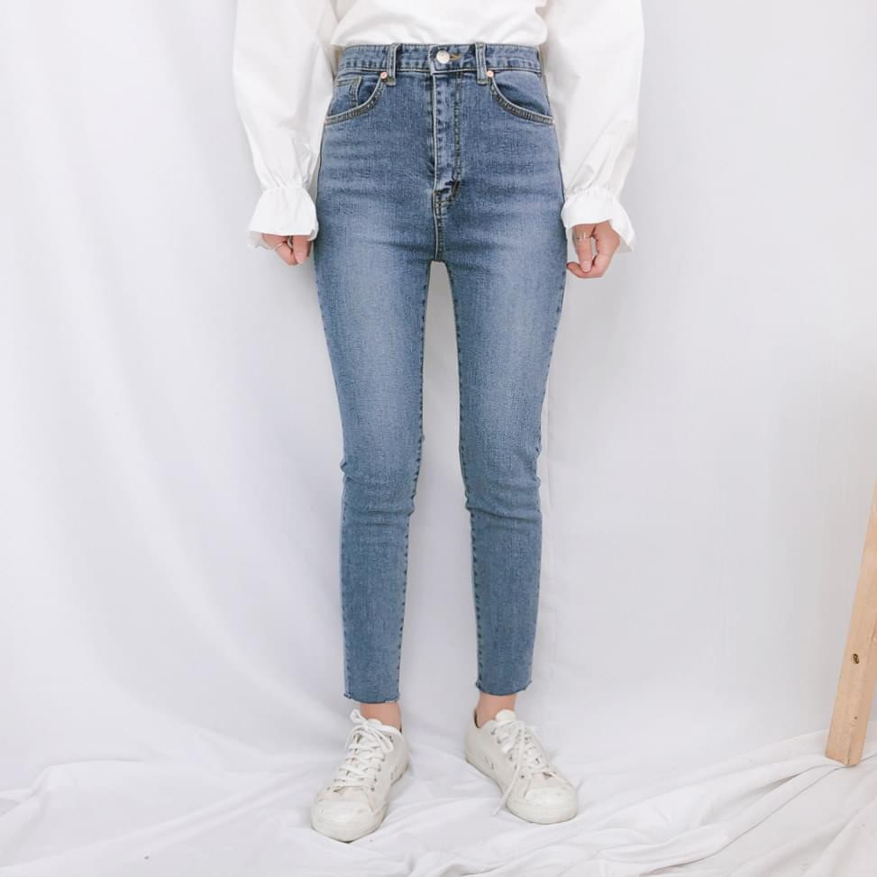 8054 cutting high skinny jeans jeans