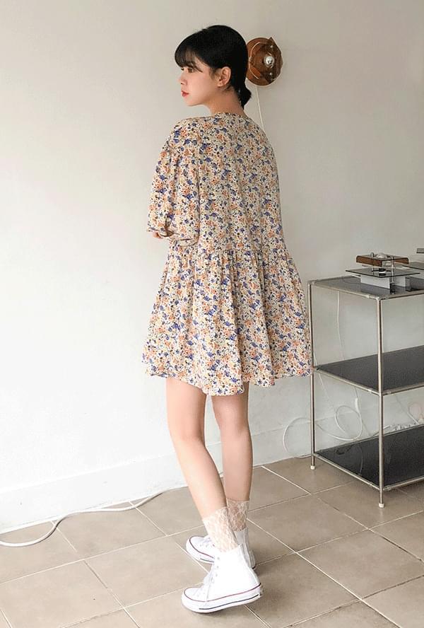 Satin Flower Mini Dress 洋裝