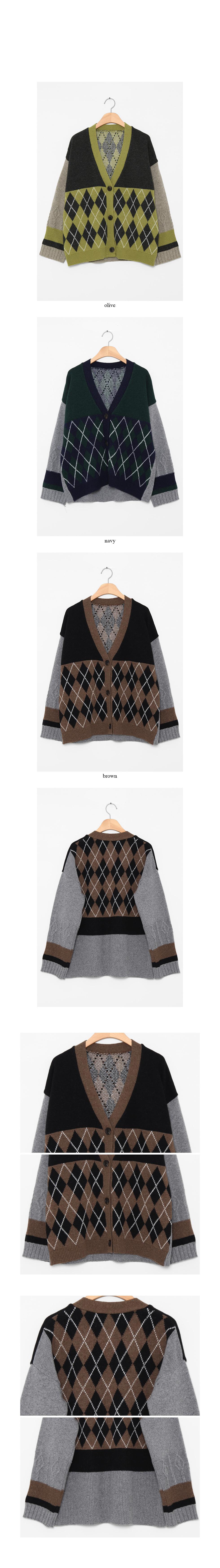 argyle check v-neck cardigan