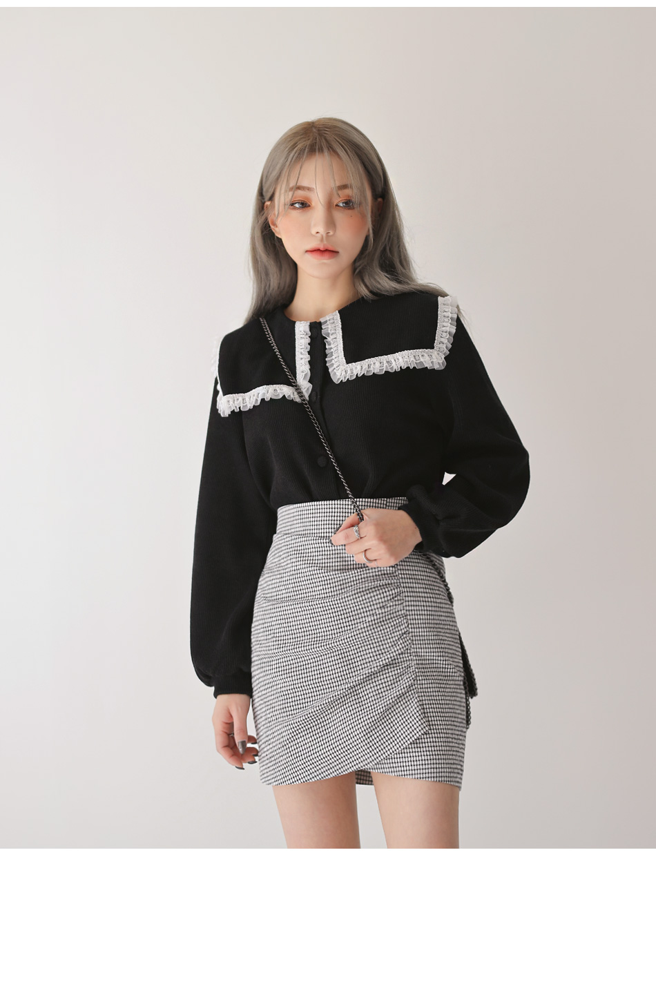 CHECK UNBAL SHIRRING MINI SKIRT