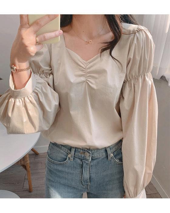 셔링 퍼프 매듭 blouse - 3color