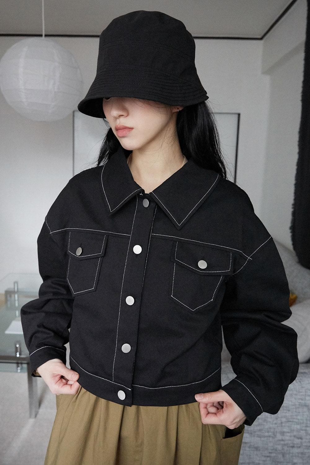 stitch crop clean jacket (2colors)