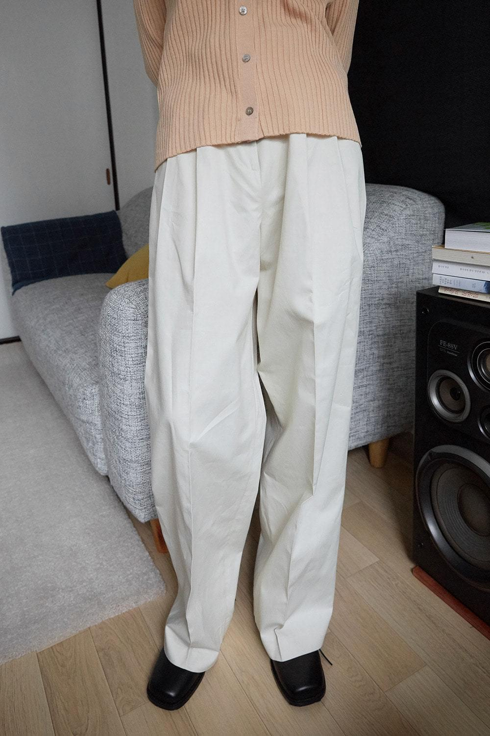 matt cotton tuck pants (2colors)