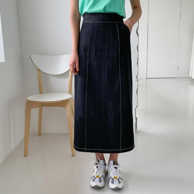 Stitched back banding denim long skirt 裙子