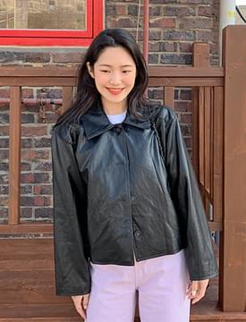 Girlish leather jacket_P (size : free)