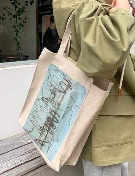 Image square cotton bag_U (size : one)
