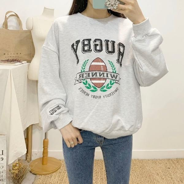 Rugby printing round neck sweat shirt