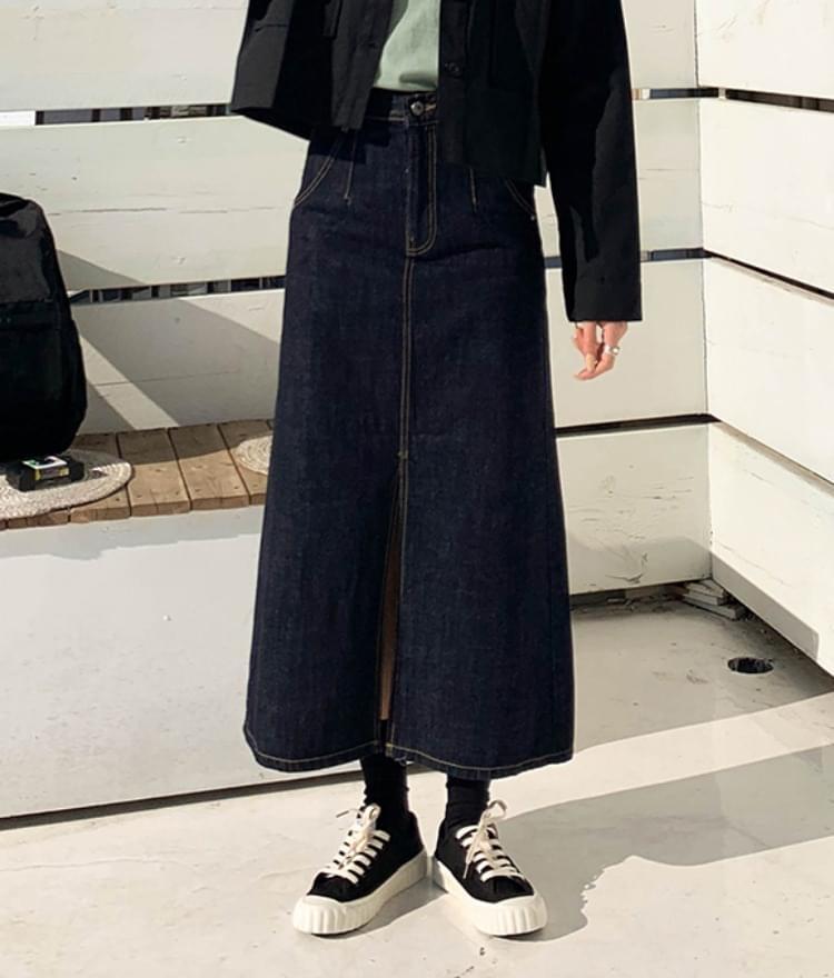 Beautiful milk denim long skirt 裙子
