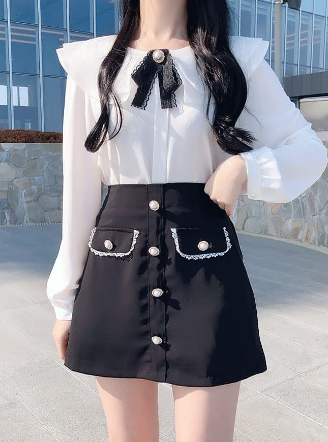 신상할인♥론다 배색 스커트팬츠(하늘,블랙)