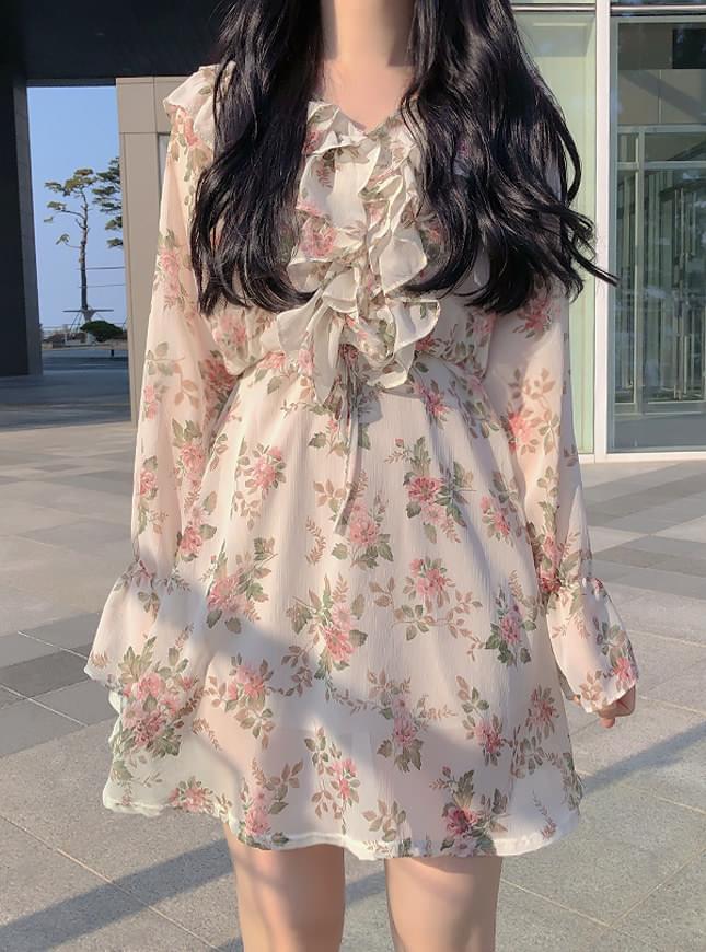 , Same day delivery ♥ ELUI Flower Shirring Dress dresses