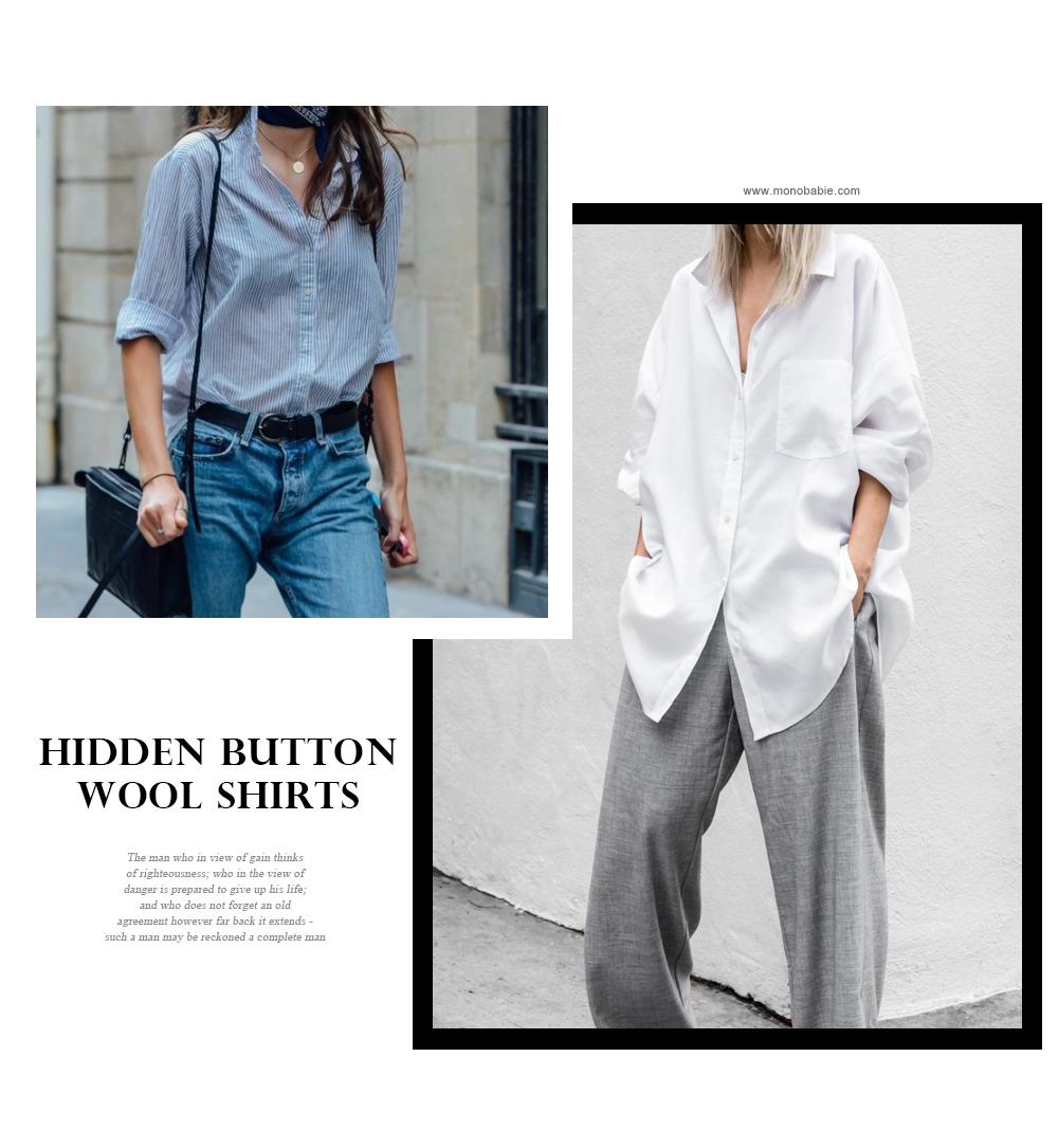 Hidden button wool shirt