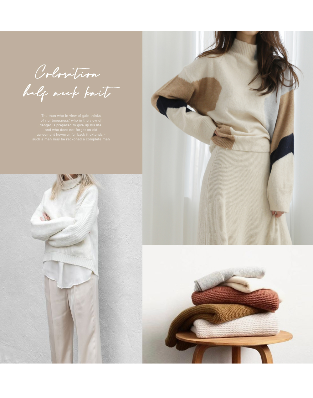 Color half neck knit